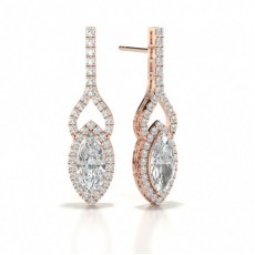 Marquise Rose Gold Halo Diamond Earrings
