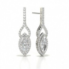 Marquise White Gold Halo Earring