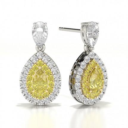 Yellow Diamond Halo Drop Earring
