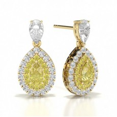 Pear Yellow Gold Diamond Earrings