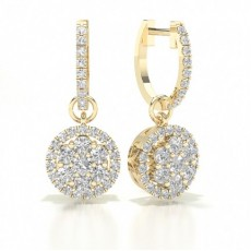 Round Yellow Gold Halo Earring