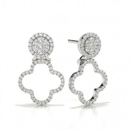 Round Halo Cluster Diamond Earrings