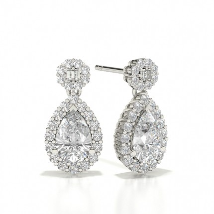 Halo Dangling Diamond Stud Earrings