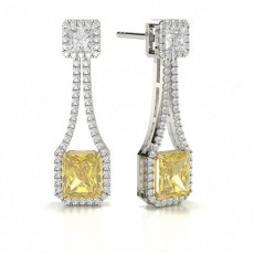 Emerald Platinum Yellow Diamond Earrings