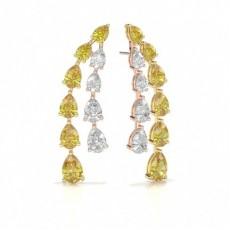 Pear Rose Gold Stud Diamond Earrings