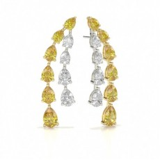 Pear White Gold Designer Diamond Earrings