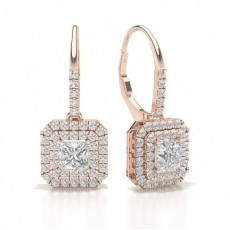 Princess Rose Gold Hoop Diamond Earrings
