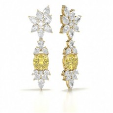 Pear Yellow Gold Yellow Diamond Earrings