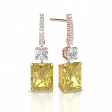 Emerald Rose Gold Designer Diamond Earrings
