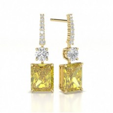 Emerald Yellow Gold Stud Diamond Earrings