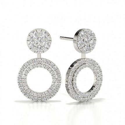 Round Stud Cluster Designer Diamond Earrings