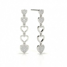 Round Platinum Journey Diamond Earrings