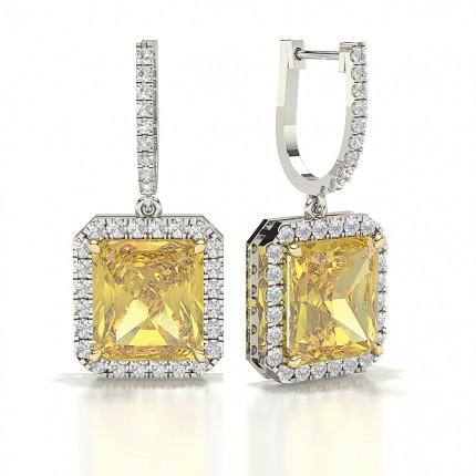 Yellow Diamond Designer halo Earring