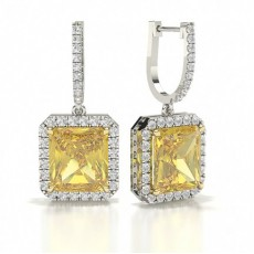 Yellow Diamond Designer halo Earring