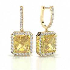 Radiant Yellow Gold Yellow Diamond Earrings