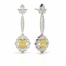 Oval Platinum Designer Diamond Earrings