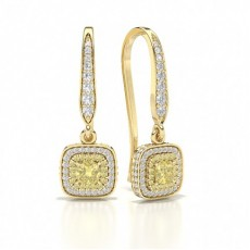 Cushion Yellow Gold Designer Diamond Earrings