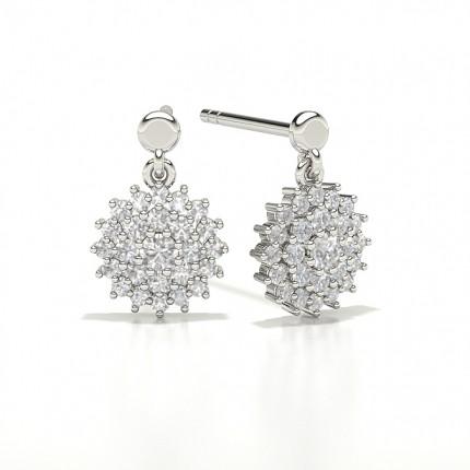 Round Cluster Designer Diamond Earrings