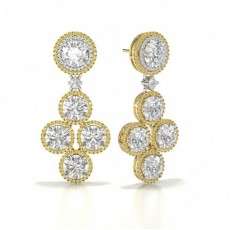 Round Yellow Gold Diamond Earrings