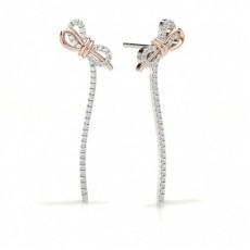 Round Platinum Stud Diamond Earrings