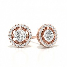 Round Rose Gold Halo Earring