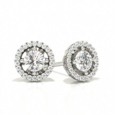 Center Prong Round Diamond Halo Earring