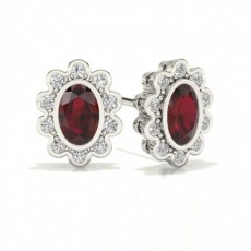 Oval White Gold Halo Earrings