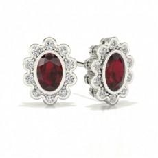 Oval Platinum Halo Diamond Earrings