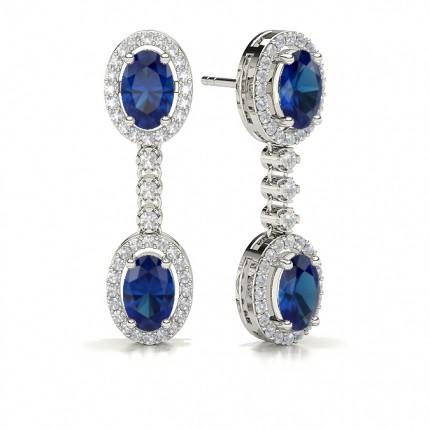 Oval Blue Sapphire Drop Diamond Earrings