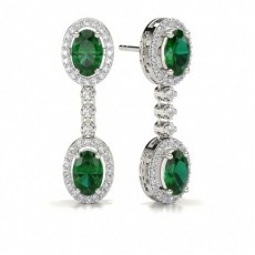 Oval Platinum Gemstone Earrings