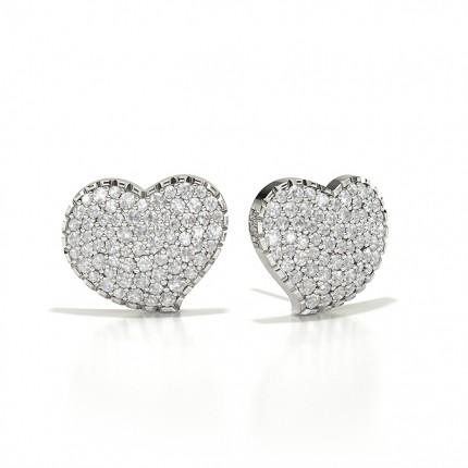 Flush Setting Round Diamond Cluster Earrings