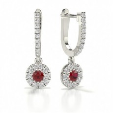 Ruby stone Round Diamond Hoop Earring