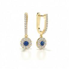 Blue Sapphire stone Round Diamond Hoop Earring