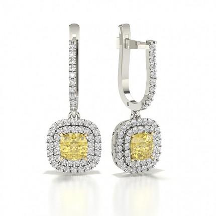 Yellow Diamond Hoop halo Earring