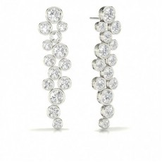 Full Bezel Setting Round Diamond Journey Earrings