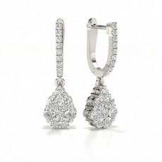 Prong Setting Round Diamond Hoop Earrings