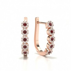 Rose Gold Gemstone Diamond Earrings