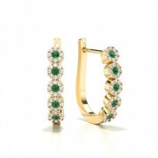 Round Yellow Gold Diamond Earrings