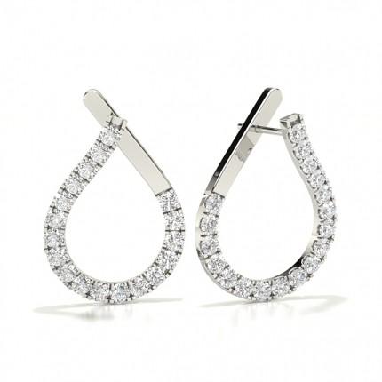 White Gold Round Diamond Designer Earrings