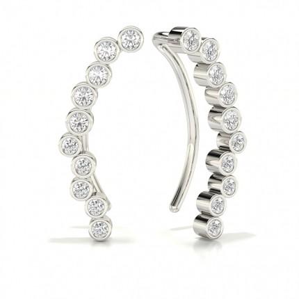 Full Bezel Setting Round Diamond Designer Earrings