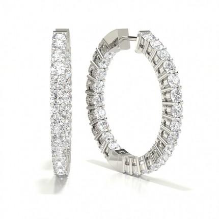 4 Prong Setting Round Diamond Hoop Earrings