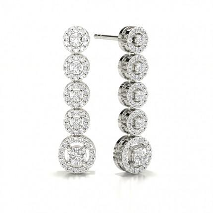Prong Setting Round Diamond Journey Earrings