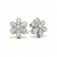 Platinum Cluster Earrings