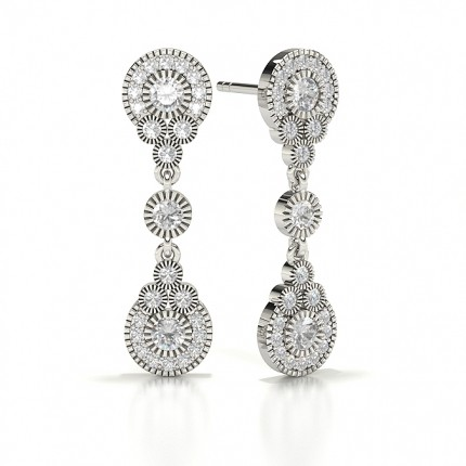 Illusion Setting Round Diamond Journey Earrings