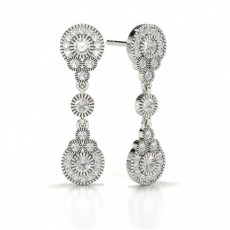 Round White Gold Journey Earrings