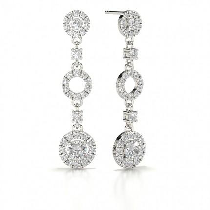 4 Prong Setting Round Diamond Journey Earrings