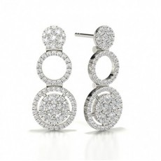 Round White Gold Journey Diamond Earrings
