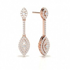 Round Rose Gold Journey Diamond Earrings