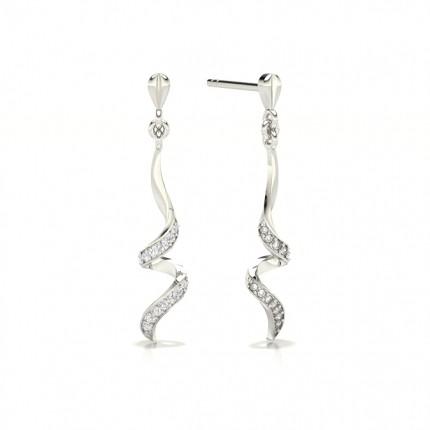 Pave Setting Round Diamond Designer Earrings