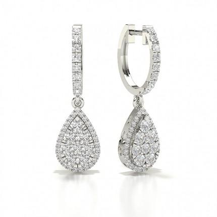 Prong Setting Round Diamond Hoop Earrings
